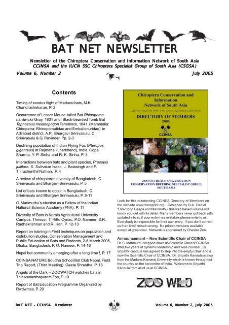 bat net newsletter - zoo's print