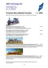 ABG Technology AG Preisliste Micro-Metakit Produkte 1. 1. 2003