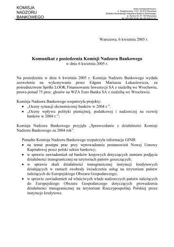 Komunikat z posiedzenia Komisji Nadzoru Bankowego - Komisja ...