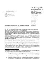 Vereinbarung - Erziehungsberatung im Bistum Aachen
