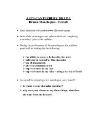 ARTS CANTERBURY DRAMA Drama Monologues - Female