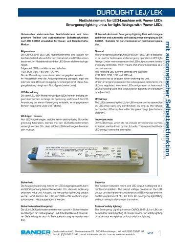 DUROLIGHT LEJ/LEK w ith autom atic self ... - Sander elektronik