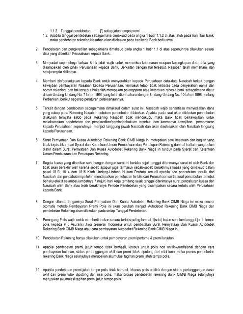 Surat Kuasa Pendebitan Rekening Cimb Niaga Generali Indonesia