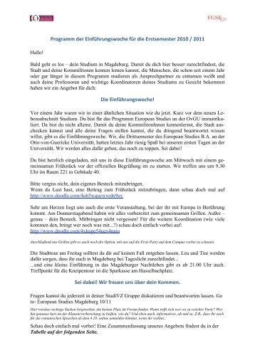 Programm der Einführungswoche für die ... - European Studies
