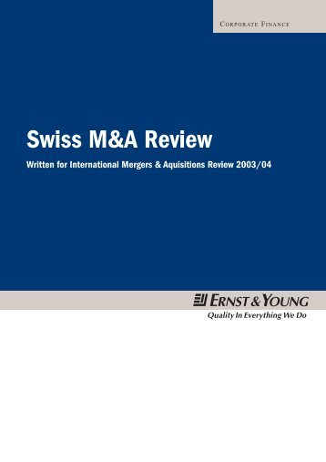 Swiss M&A Review 2002 By Nick Blaydes Associate Director Ernst ...