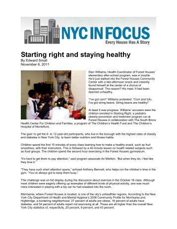 Starting right and staying healthy - Children's Health Fund