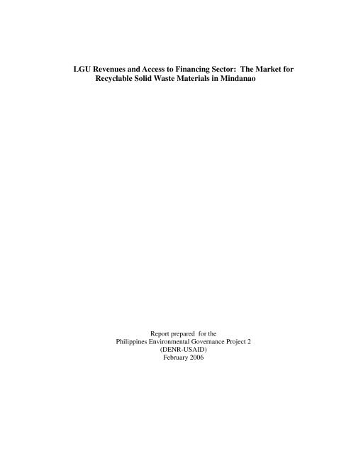 LGU Revenues And Access To Financing Sector The Philippine