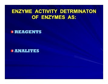 ENZYME ACTIVITY DETRMINATON OF ENZYMES AS OF ...