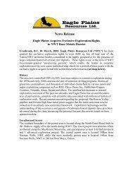 News Release - Eagle Plains Resources