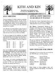 July - August 1998 - Marshfield Area Genealogy Group