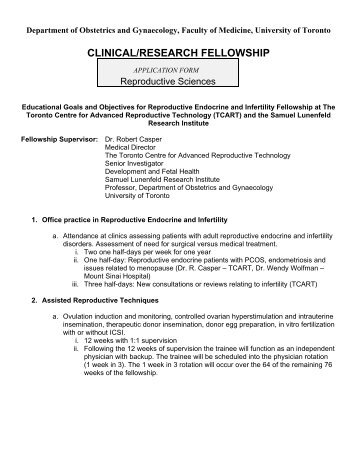 CLINICAL/RESEARCH FELLOWSHIP Reproductive Sciences
