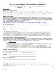 Non-Partners Investigator Financial Interest Disclosure Form
