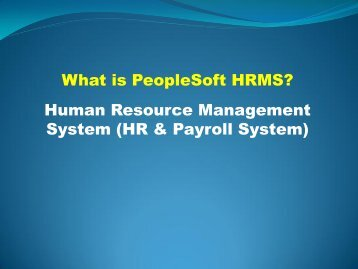 What is PeopleSoft HRMS? Human Resource Management System ...