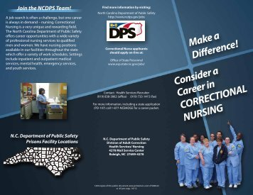 Correctional Nursing brochure - North Carolina Department of ...