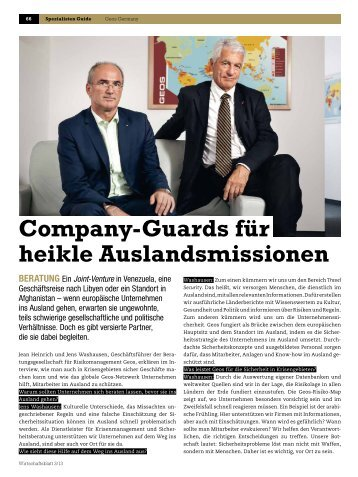 Company-Guards für heikle Auslandsmissionen - Logo der GEOS ...