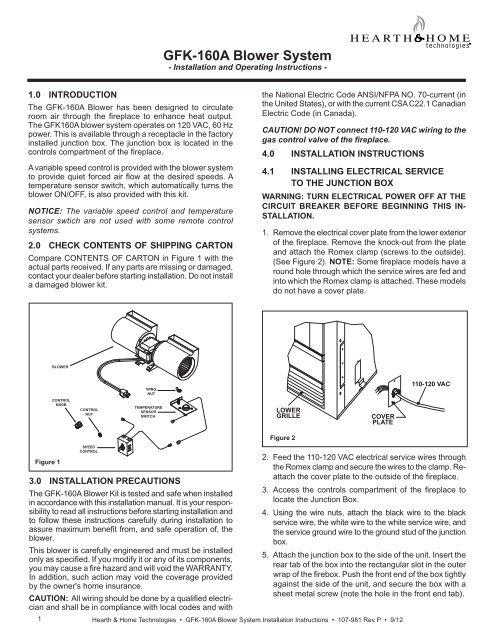 Gfk 160a Blower System Heatilator Fireplaces