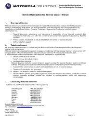 Service Description for Service Center- Bronze - MobileWorxs
