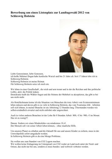 Bewerbung um einen Listenplatz zur Landtagswahl 2012 von ...