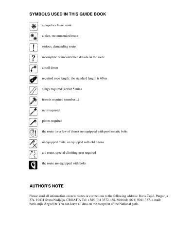 SYMBOLS USED IN THIS GUIDE BOOK AUTHOR'S NOTE - Cappo