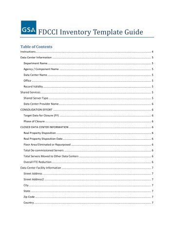 FDCCI Inventory Template Guide