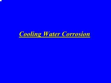 Types of Cooling Water Corrosion