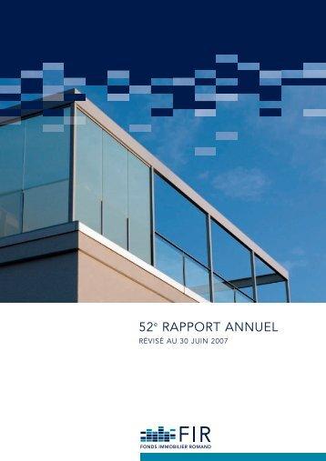 rapport annuel no 52 révisé au 30 juin 2007 | pdf - FIR - Fonds ...