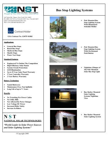 Bus Stop Lighting Systems - National Solar Technologies