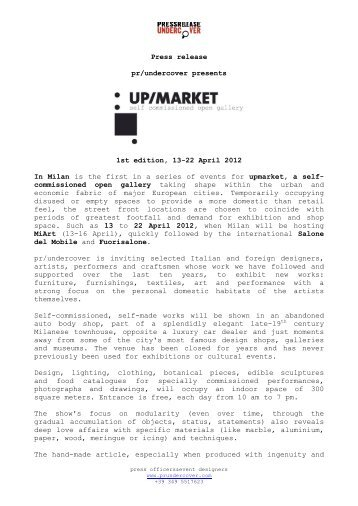 Press release pr/undercover presents 1st edition, 13-22 April 2012 ...