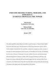 Industry Restructuring, Mergers, and Efficiency - Department of ...