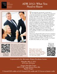 ADR 2012: What You Need to Know - Oregon State Bar CLE Seminars