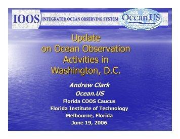 Update on Ocean Observation Activities in Washington, D.C.