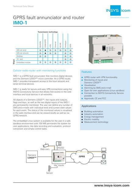 GPRS fault annunciator and router IMO-1 - inl system ab