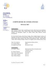 COMPTE RENDU DU CONSEIL D'ECOLE 05 février 2013