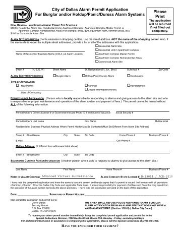 City of Dallas Alarm Permit Application For Burglar and/or Holdup ...