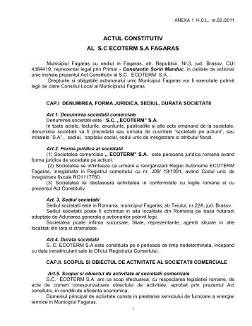 actul constitutiv al societatii comerciale - Primaria Municipiului Fagaras