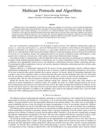 Multicast Protocols and Algorithms - CiteSeerX