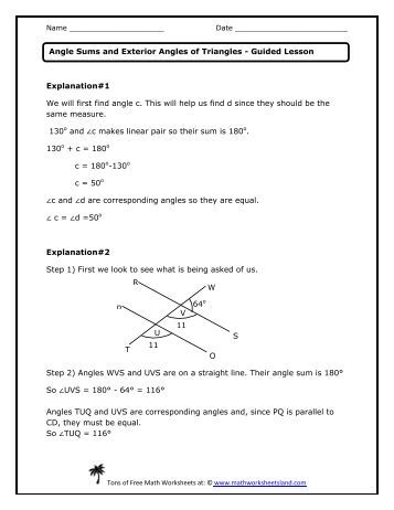 Guided Lesson Explanation - Math Worksheets Land