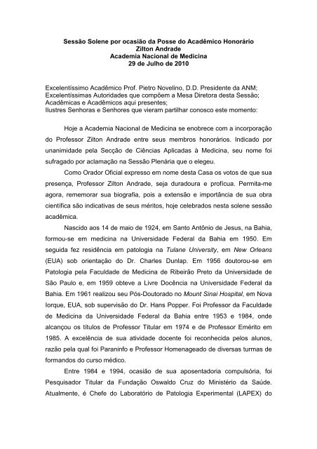 Discurso do Orador Oficial, Acad. Aníbal Gil Lopes, na Posse do ...