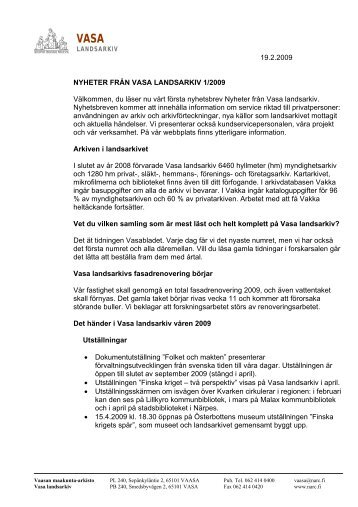 19.2.2009 NYHETER FRÅN VASA LANDSARKIV 1/2009 ...
