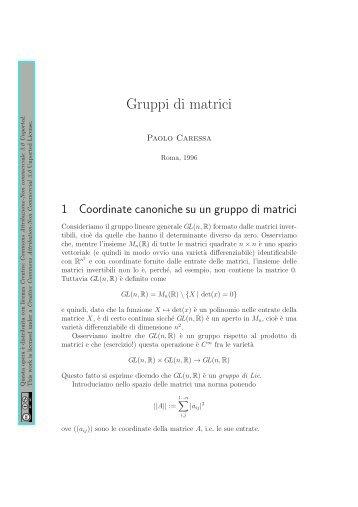 Una lezione sui gruppi di matrici (1996) - Caressa.it
