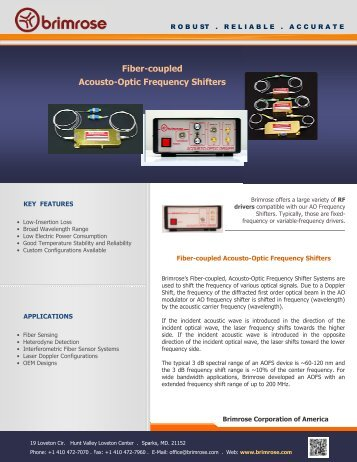 Fiber Pigtailed Acousto-Optic Frequency Shifters - Brimrose ...
