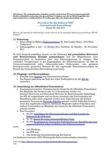 Informationsblatt - Institut für Internationale Entwicklung - Universität ...