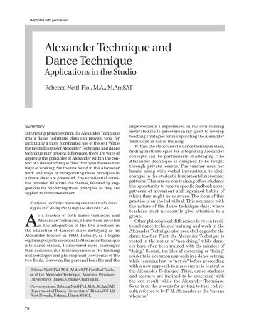 The Complete Guide to the Alexander Technique  Research