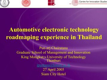 Automotive electronic technology roadmaping experience ... - Nectec