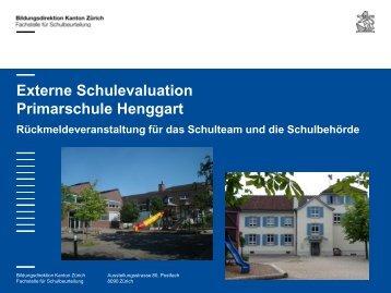 Externe Schulevaluation Primarschule Henggart