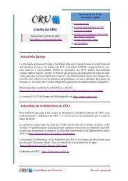 L'écho du CRU - Comité Réseau des Universités