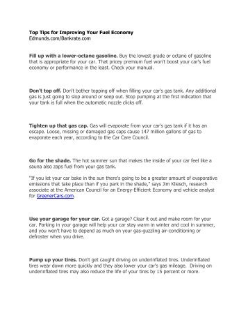 Top Tips for Improving Your Fuel Economy Edmunds.com/Bankrate ...