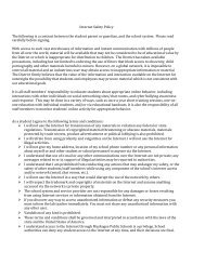 Internet Safety Policy The following is a contract between the student ...