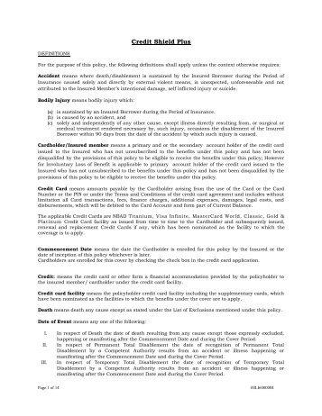credit shield plus insurance policy - National Bank of Abu Dhabi