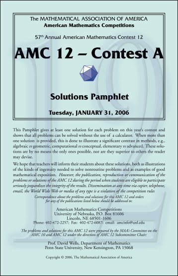 aMC 12 – Contest a Solutions Pamphlet